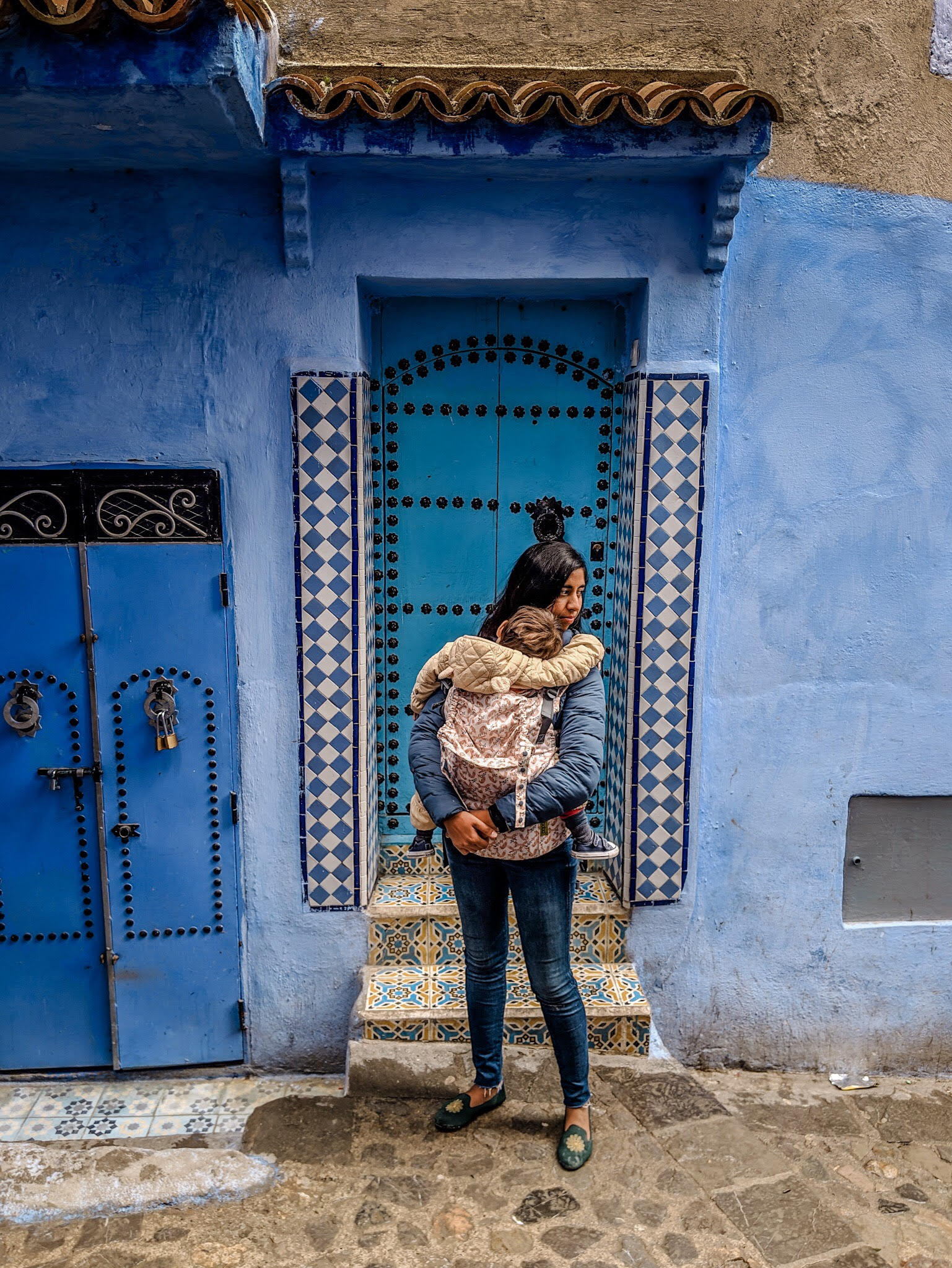 mother baby blue city chefchaouen