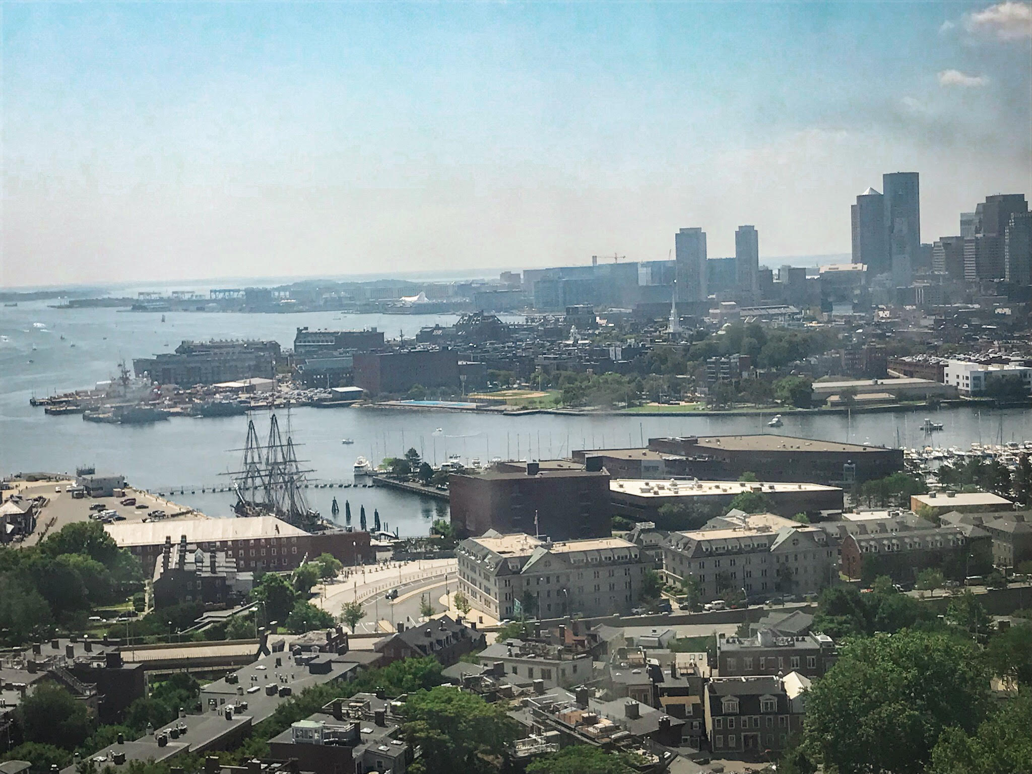 view from bunker hill monument 3 days in boston