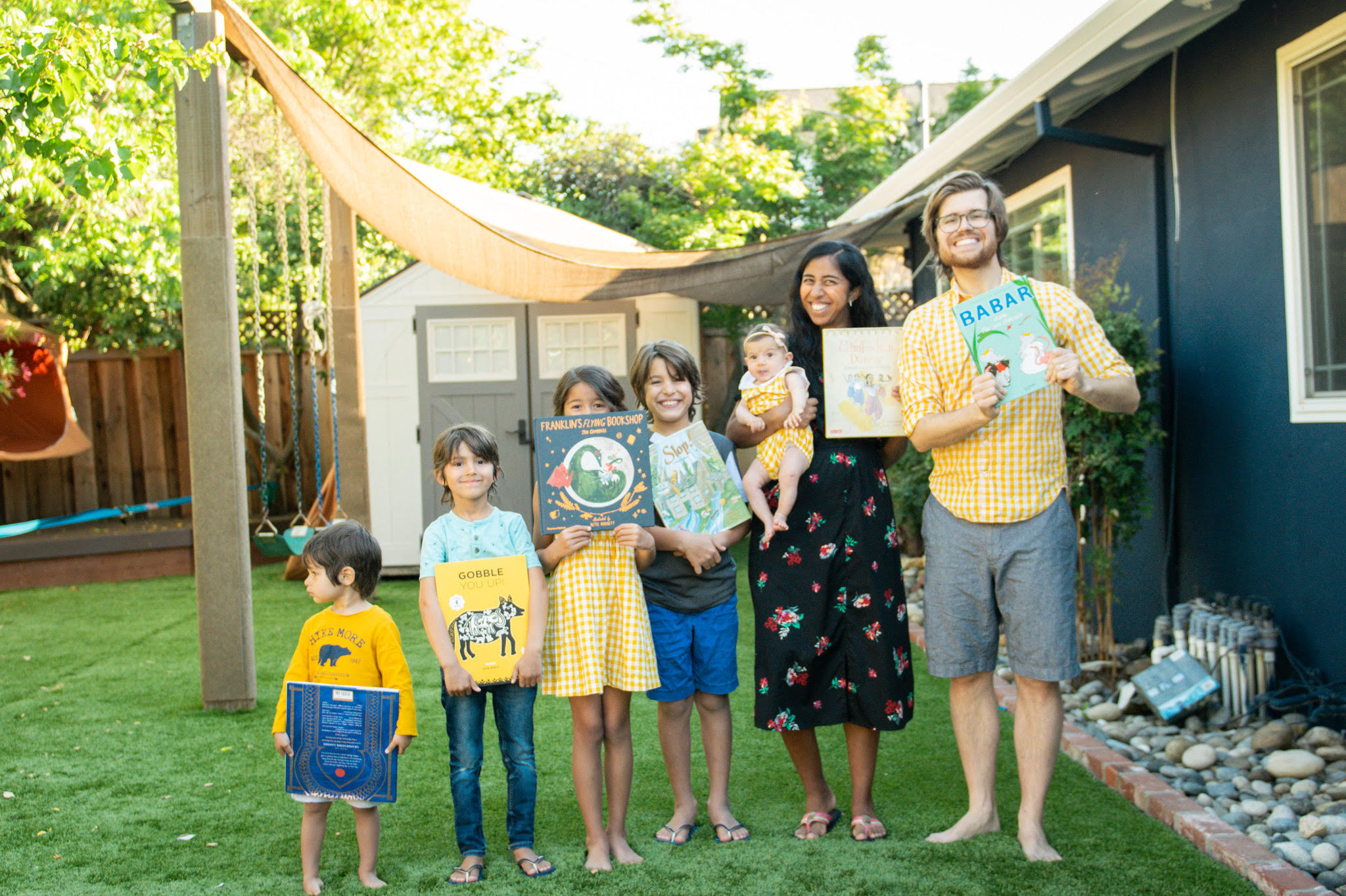 family with diverse picture books