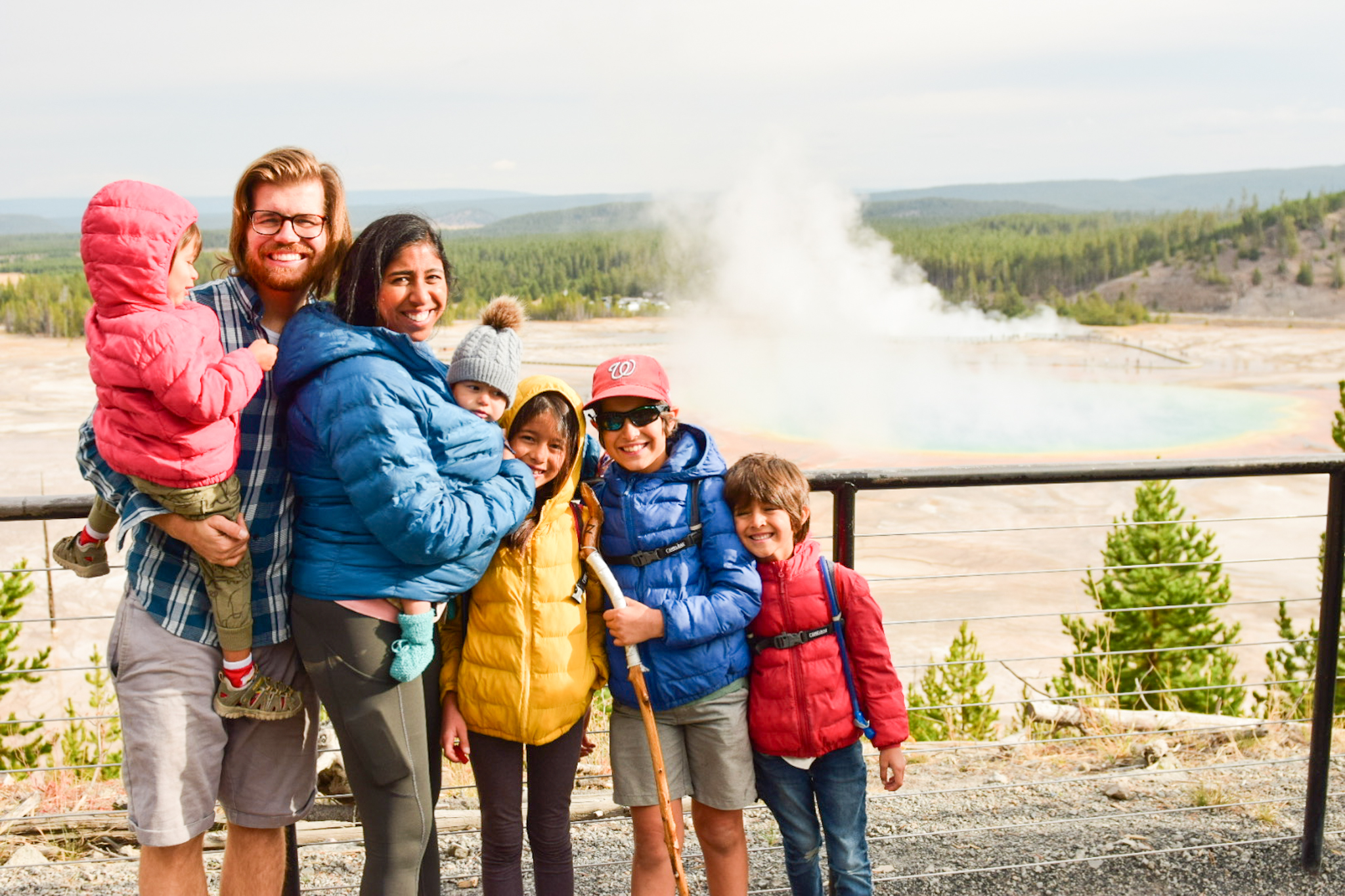 grand prismatic overlook with kids