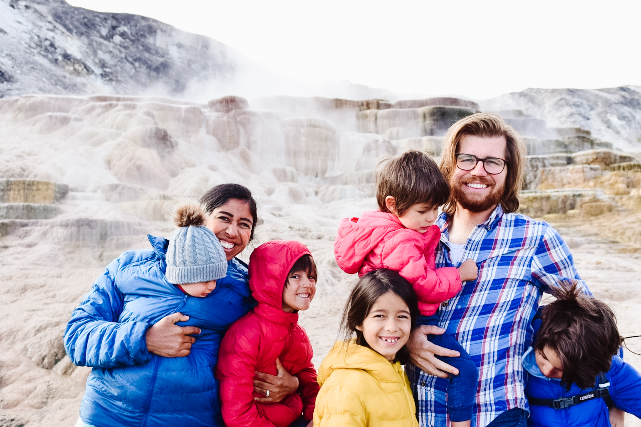 mammoth hot springs with kids